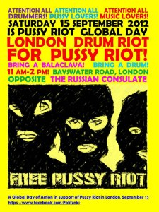 Pussy Riot London demo poster inc stencil image of band in balaclavas.